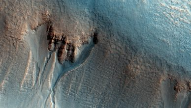 Gullies on the Wall of an Unnamed Crater in Utopia Planitia Mars
